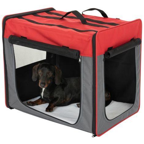 Transportín Trotter para mascotas Transportín con puerta de metal PARA PERROS PARA GATOS PLUTO ROJO