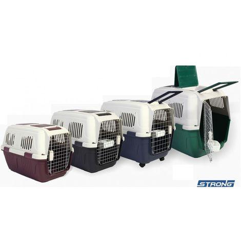 TRansportín Trotter para mascotas Transportín con puerta de metal PARA PERROS PARA GATOS STRONG - Intermediate 71 x 53 x 58 cm Antraciet