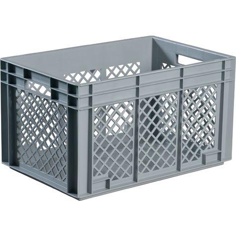 Transportstapelbehälter 80l PP grau Seitenwände durchbrochen Durchfassgriff