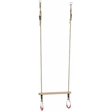 Trapèze avec anneaux métal cordes chanvre - Rouge (anneaux)