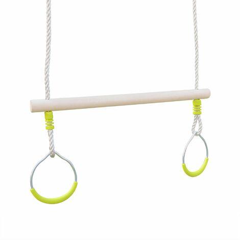 Trapèze bois avec paire d'anneaux métal pour portique de 2 à 2,5m, agrès balançoire, accessoire