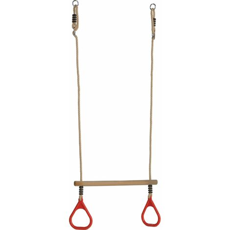 Trapèze en bois avec anneaux de gym rouges - Rouge (anneaux)