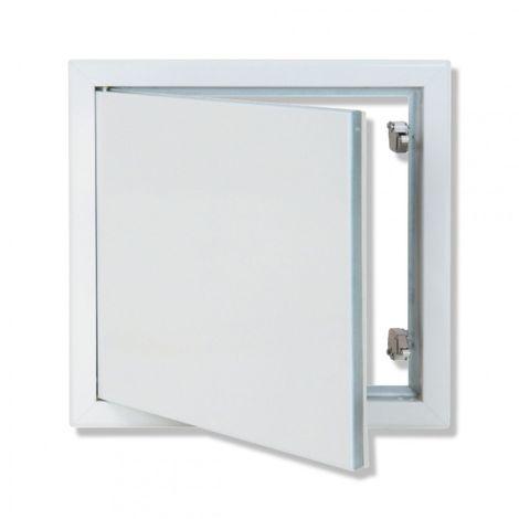 Trappe métallique laquée blanche HQ ouverture poussez/lâchez 500x500 mm - Semin