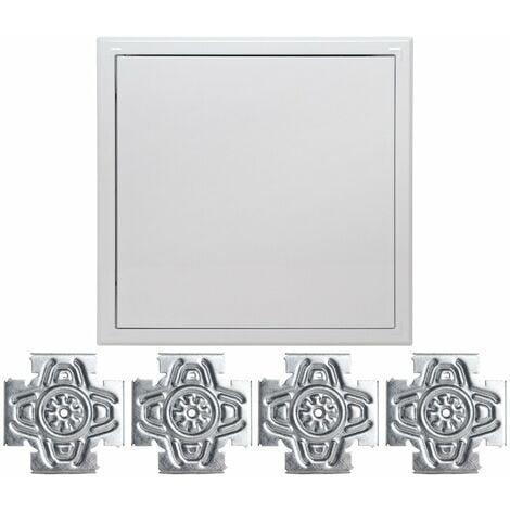 Trappe métallique laquée blanche Semin - 500 mm x 500 mm - ouverture poussez/lâchez et la croix solution - système de fixation