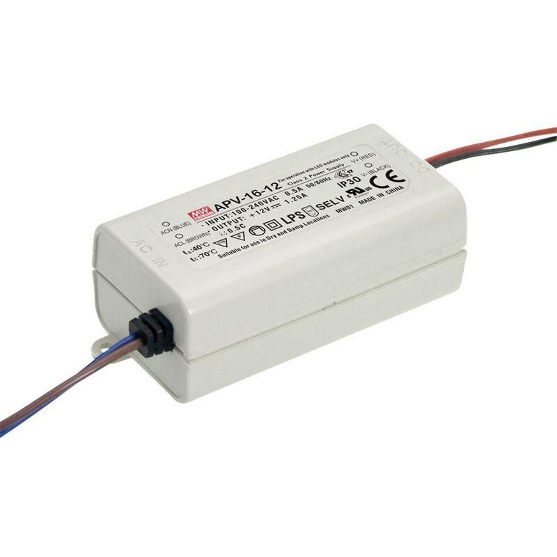 APV-16-5 Trasformatore per LED Tensione costante 13 W 0 - 2.6 A 5 V/DC non dimmerabile, Protezione sovraccari - Mean Well