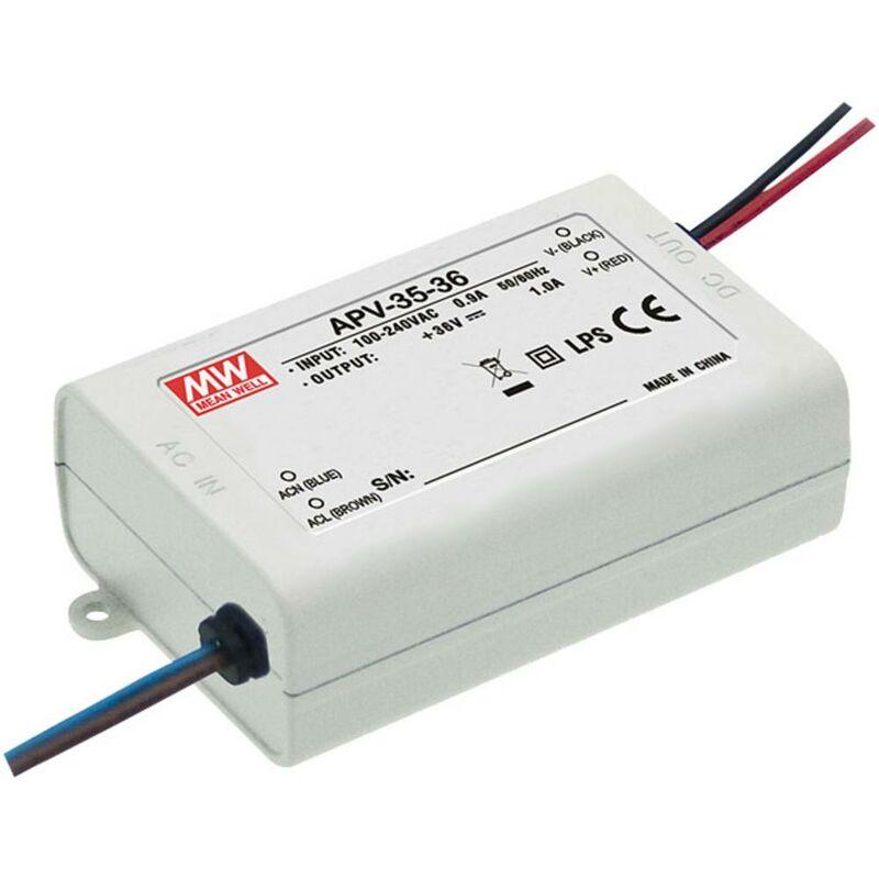 Mean Well APV-35-36 Trasformatore per LED Tensione costante 36 W 0 - 1.0 A 36 V/DC non dimmerabile, Protezione sovracca