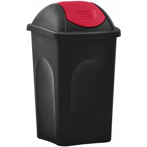 Trash Bin with Swing Lid 60L Black and Red