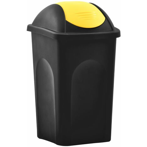 Trash Bin with Swing Lid 60L Black and Yellow