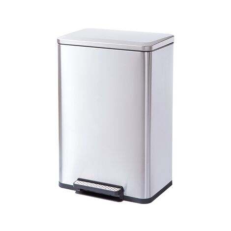 Trash Can 50L for Kitchen Bedroom Bathroom,Dust Bin with Stainless Steel Step Silver 44x37x66cm