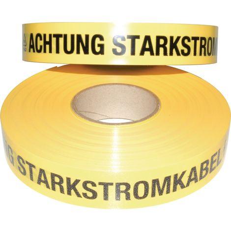 Trassenwarnband Rollenbreite 40mm Aufdruck Achtung Starkstromkabel 250m