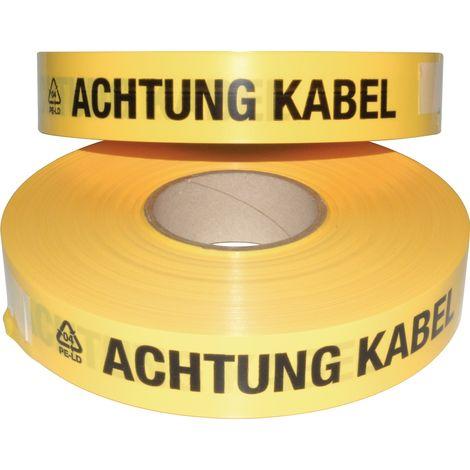 Trassenwarnband Rollenbreite 40mm Rollenlänge 250 m Aufdruck Achtung Kabel gelb
