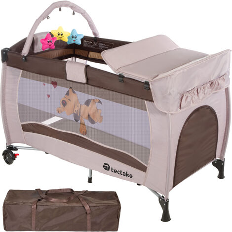 Travel cot dog with changing mat and play bar - cot bed, baby travel cot, pop up travel cot