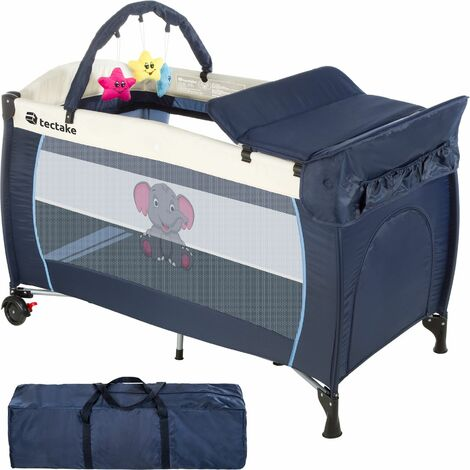 Travel cot elephant with changing mat and play bar - cot bed, baby travel cot, pop up travel cot - blue