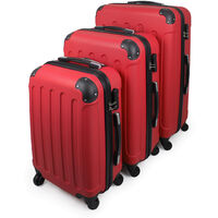 Travel Luggages, Set of Carry On Suitcase, 20 24 28 inch (51 61 71 cm), Red, ABS, Protected corners, Material: ABS plastic