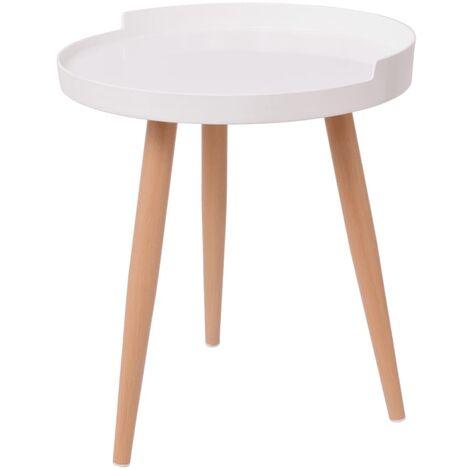 Tray Coffee Table Round 40x45.5 cm White
