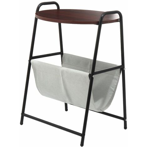 Tray Metal end table Small round side tables Tea coffee sofa table Living room (brown)