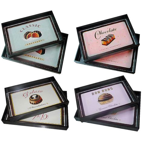 Trays,Set Of 2 Classic Assorted Designs