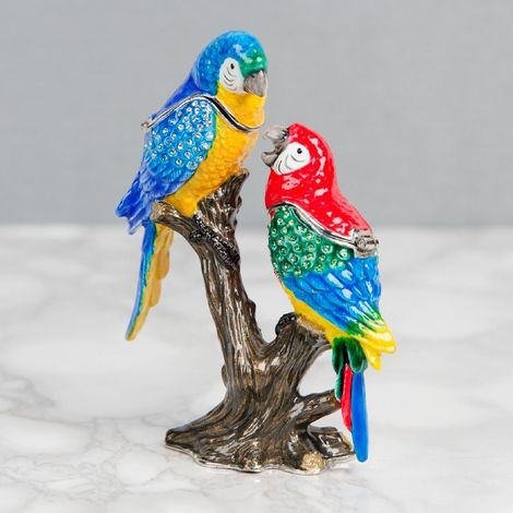 Treasured Trinkets - 2 Parrots on Branch