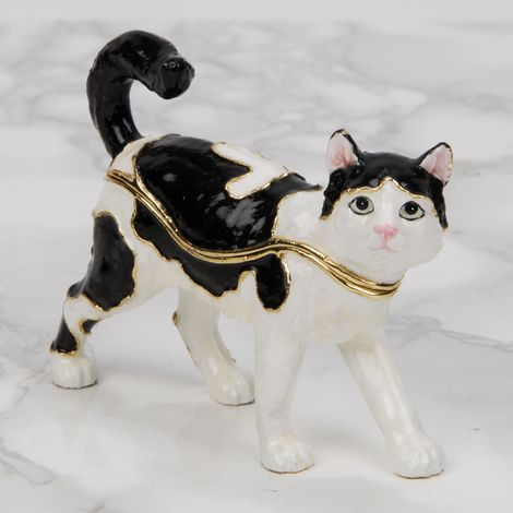 Treasured Trinkets - Black & White Cat Standing