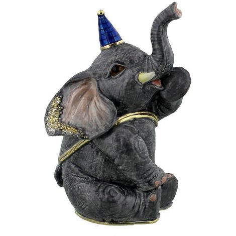 Treasured Trinkets Sitting Elephant with Party Hat