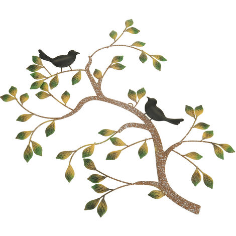Tree of Life Wall Hanging Vintage Iron Metal Bird Leaves Ornament Sculpture