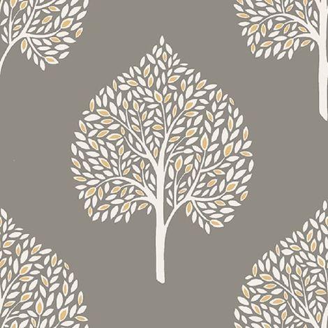 Tree Wallpaper Retro Leaf Non Woven Grey White Yellow Paste The Wall Fine Decor