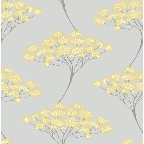 Tree Wallpaper Trees Flowers Grey Metallic Silver Yellow Modern Luxury