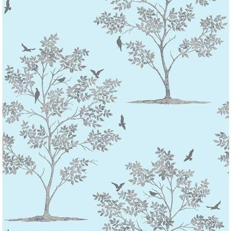 Trees & Birds Wallpaper Flowers Floral Teal Metallic Shiny Silver Fine Decor