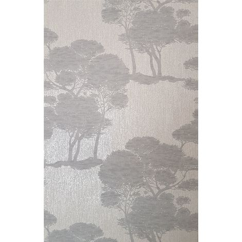 Trees Wallpaper Woods Grey Silver Glitter Metallic Vinyl Paste Wall Grandeco