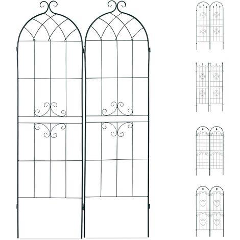 Treillis clôture plante grimpante arche jardin fer set de 2 vert - Vert