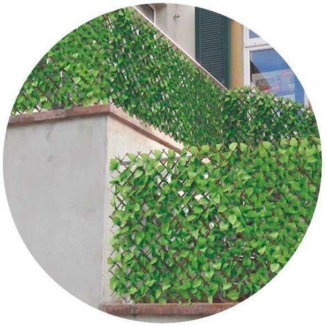 Treillis en bois de saule et feuilles de rosier artificielles - Vert