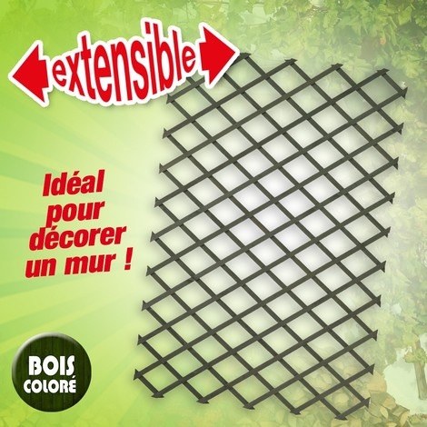 Treillis extensible en bois coloré vert - 50 x 150 cm