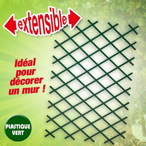 Treillis extensible en plastique vert 50 x 150 cm