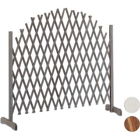Treillis jardin en bois extensible 200 cm, Clôture grillage pliable, Plante grimpante Brise-vue balcon, gris