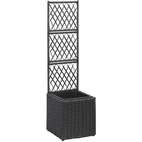 Trellis Planter with 1 Pot 30x30x107 cm Poly Rattan Black