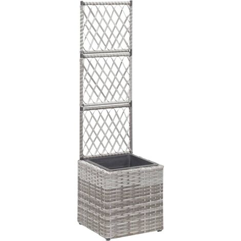 Trellis Planter with 1 Pot 30x30x107 cm Poly Rattan Grey