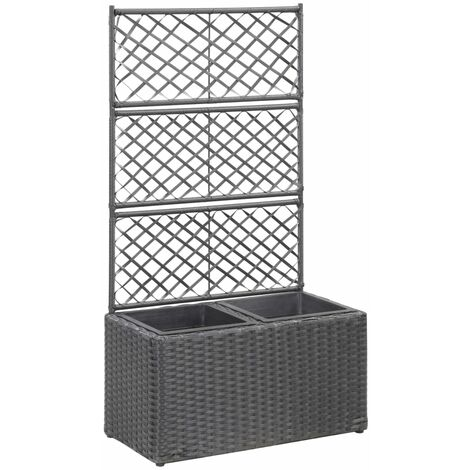 Trellis Planter with 2 Pots 58x30x107 cm Poly Rattan Black
