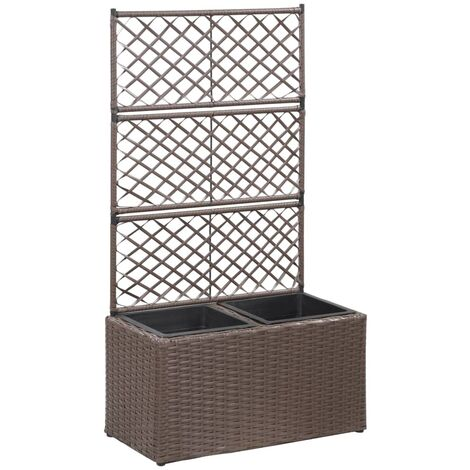Trellis Raised Bed with 2 Pots 58x30x107 cm Poly Rattan Brown