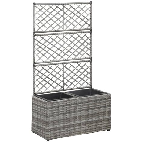 Trellis Raised Bed with 2 Pots 58x30x107 cm Poly Rattan Grey