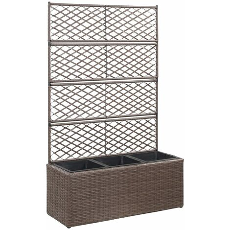 Trellis Raised Bed with 3 Pots 83x30x130 cm Poly Rattan Brown