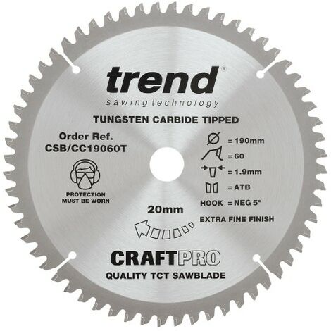 Trend Craft Pro saw blade - 190mm diameter 20mm bore 60tooth TCT