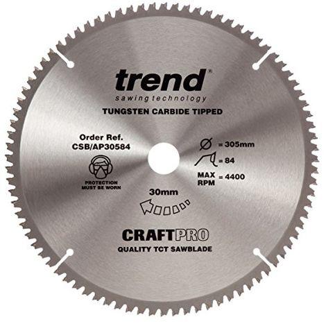 Trend Craft Saw Blade Aluminium And Plastic 305mm X 84 Teeth X 30mm