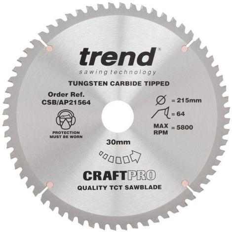 Trend Craft Saw Blade Aluminium & Plastic 215mm x 64T x 30mm