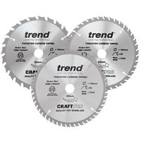 Trend CraftPro 165mm Circular Saw Blade (Pack 3)