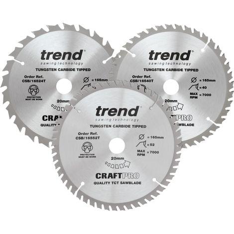 Trend CraftPro Cordless Saw Blade 165 x 20mm x 24T/40T/52T (Pack 3)