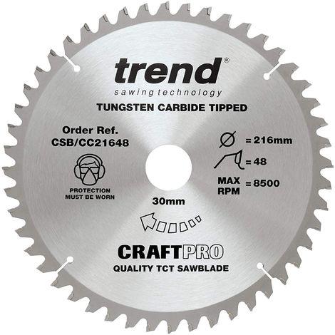 Trend CSB/CC21648 TCT Craft Saw Blade Crosscut 216mm x 48T x 30mm