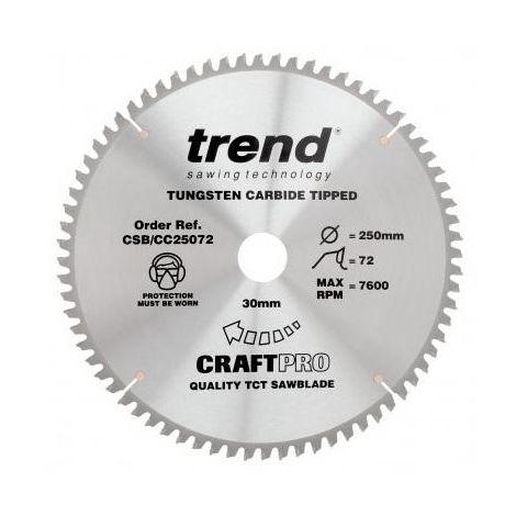Trend CSB/CC25072 TCT Craft Saw Blade Crosscut 250mm x 72T x 30mm