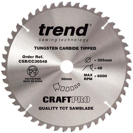 Trend CSB/CC30548 TCT Craft Saw Blade Crosscut 305mm x 48T x 30mm
