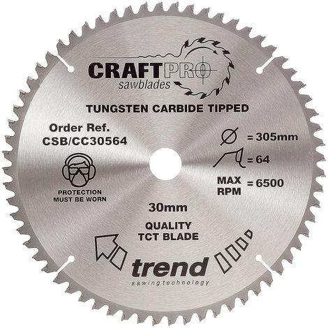 Trend CSB/CC30564 TCT Craft Saw Blade Crosscut 305mm x 64T x 30mm