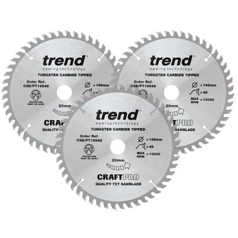 Trend CSB/PT165/3PK 165mm Saw Blade Triple Pack